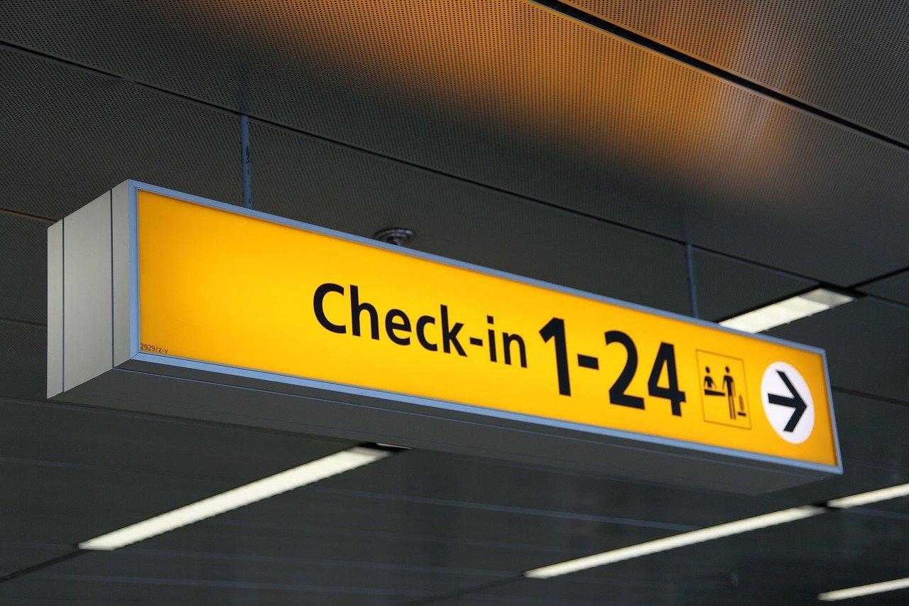 airport, arrow, board